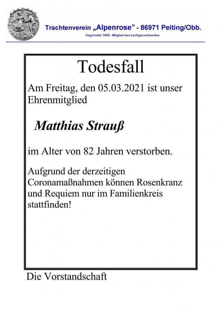 Todesfall Matthias Strauß